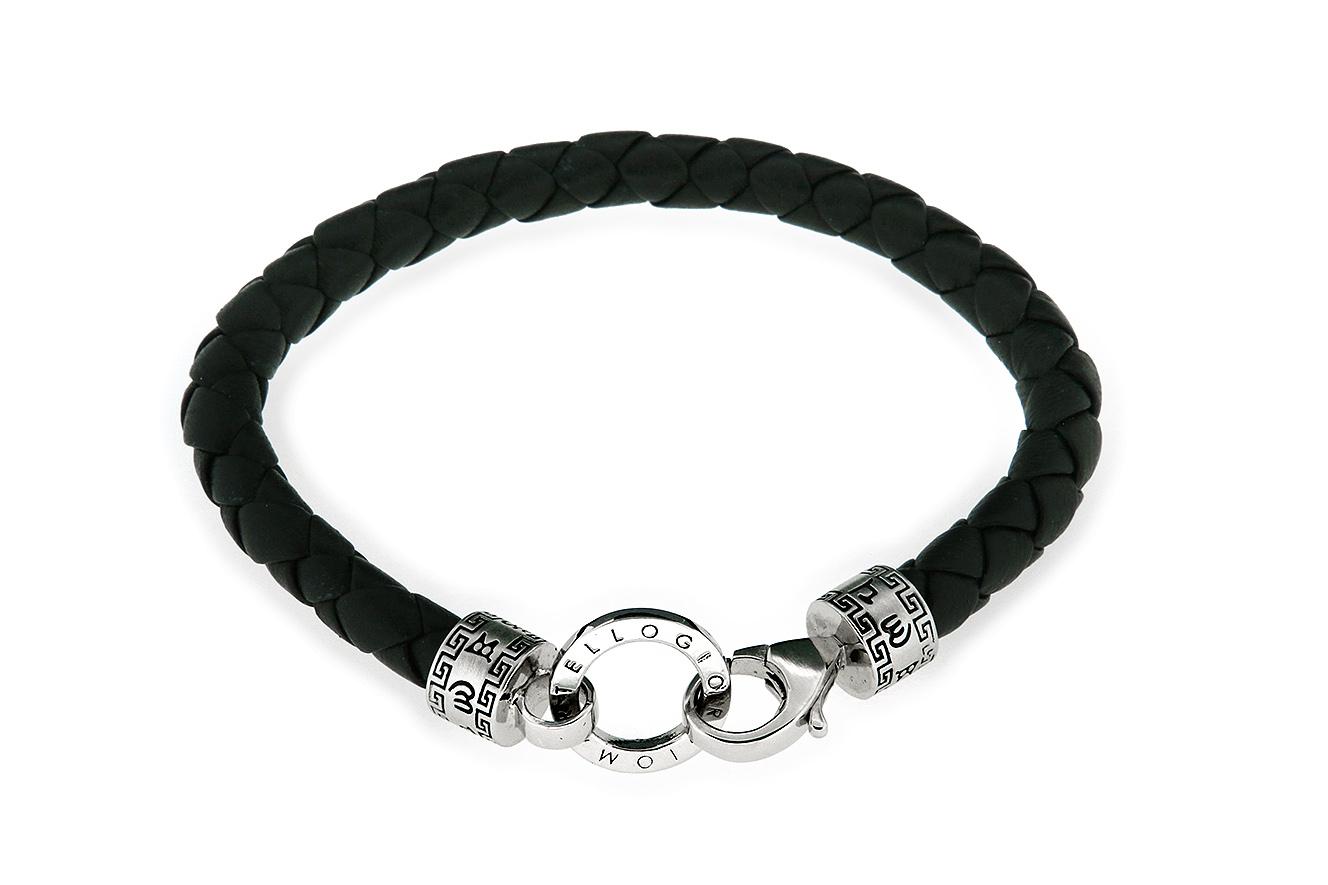 22-20cm Armband in Silber 925 rhodiniert teilweise oxydiert mit schwarzen geflochten Leder