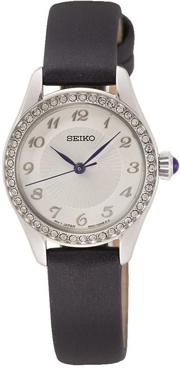 Damenarmbanduhr von Seiko SUR385P2 mit Edelstahlgehäuse und Kristallen sowie Cabochonkrone