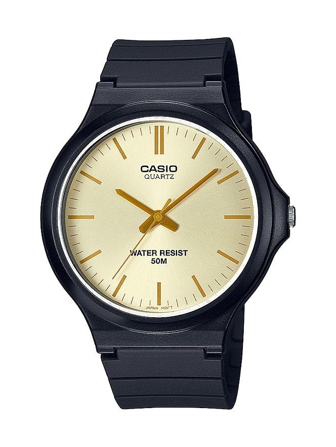 Armbanduhr Unisex von Casio MW-240-9E3VEF mit Analoganzeige, goldenem Zifferblatt und schwarzem Kuns