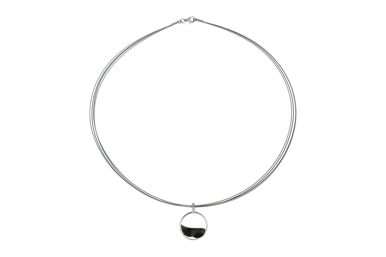 43cm Collier Black Wave von Yo Design in Silber 925 rhodiniert und Edelstahl