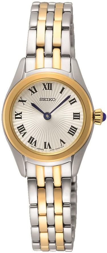 Damenarmbanduhr Seiko SWR038P1 teilvergoldet mit dunkelblauer Steinkrone