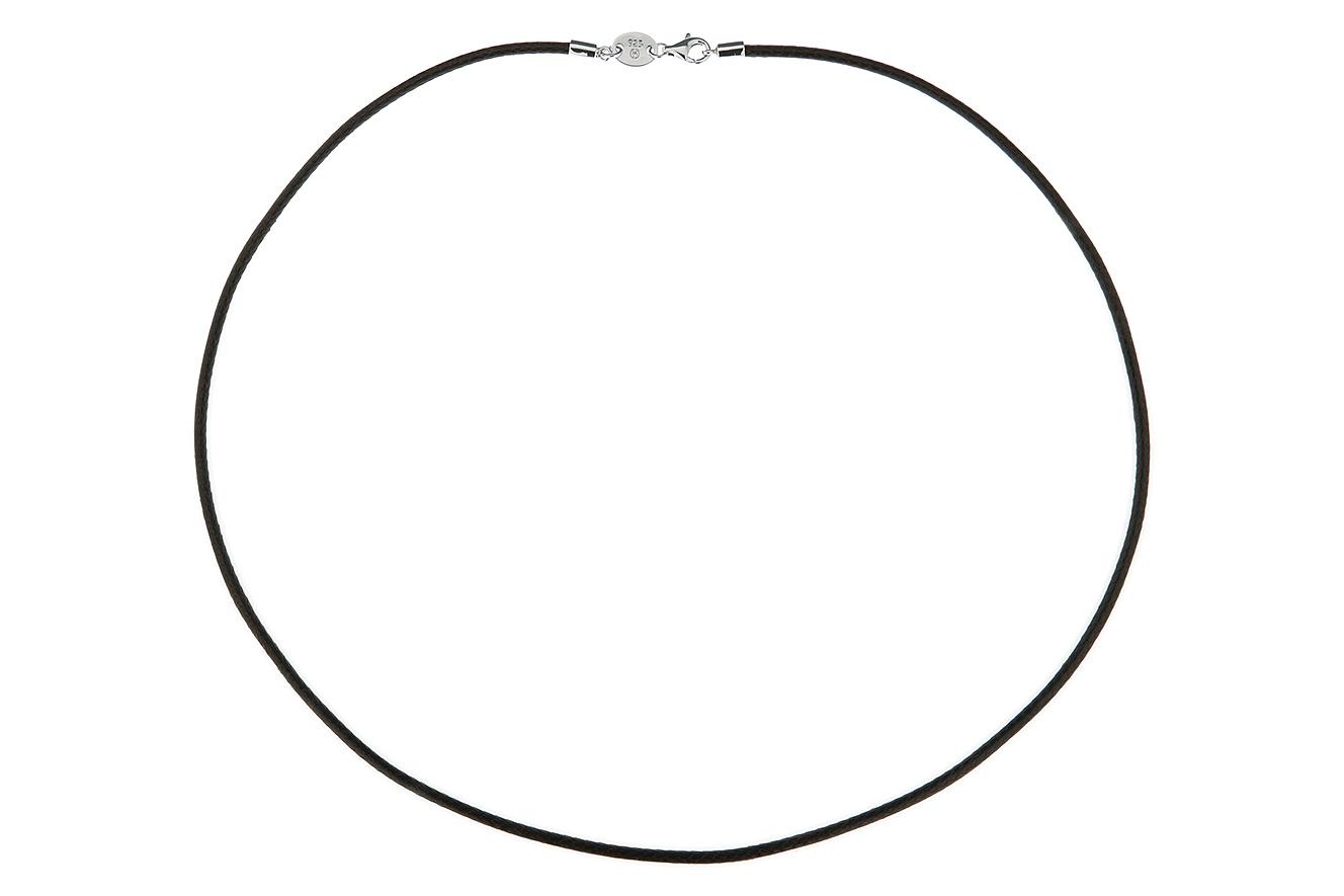 42cm Textilband dunkelbraun Silber 925 rhodiniert