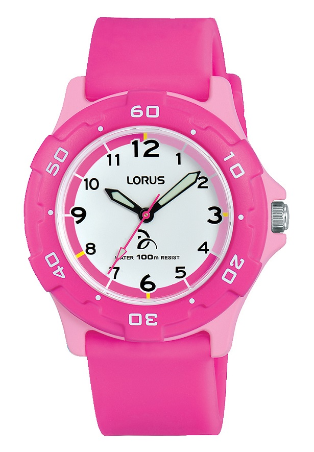 Kinderuhr in Pink mit Silikonarmband von Lorus RRX17GX9
