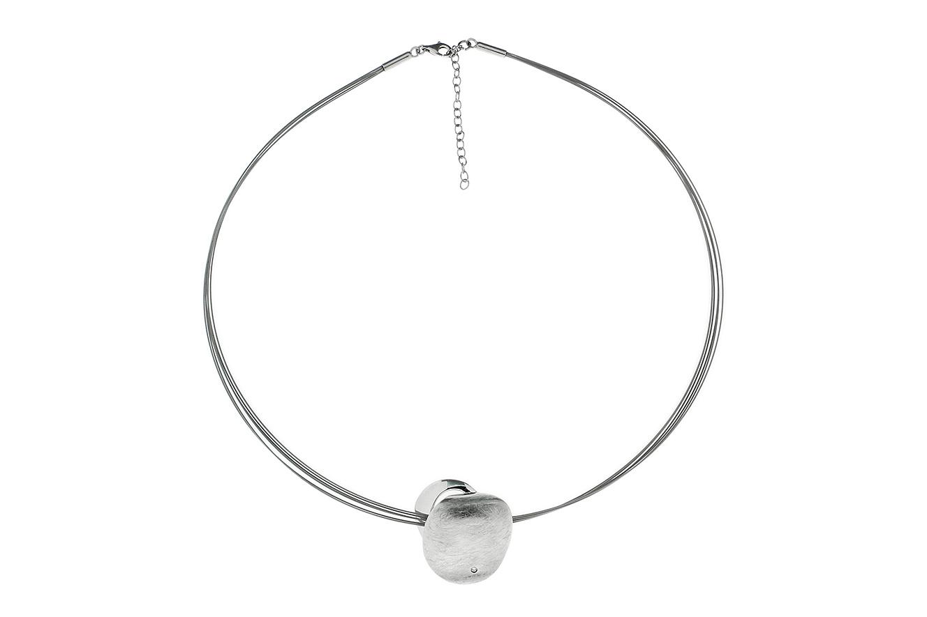 48cm-43cm Collier Shallow von Yo Design in Silber 925 rhodiniert und Edelstahl