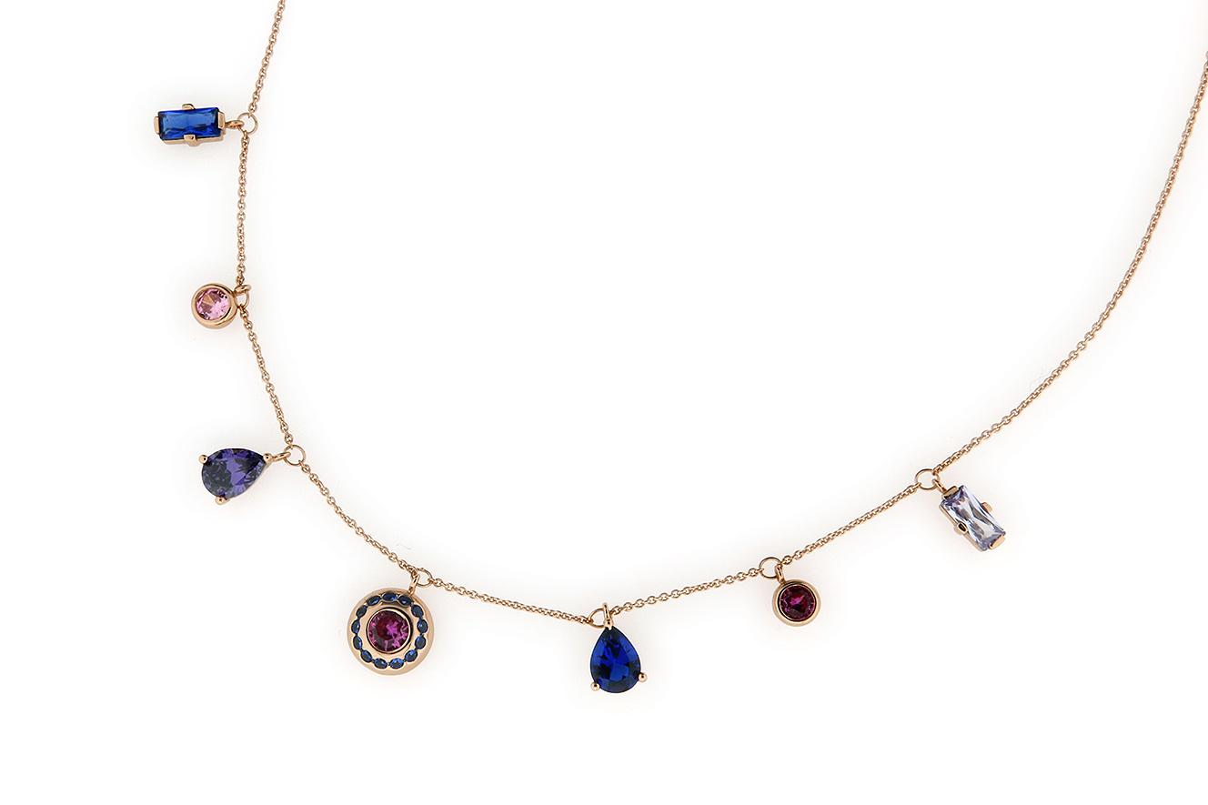 45-42cm Collier in Silber 925 rosé vergoldet mit farbigen Zirkonia und Kristallsteine