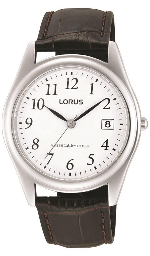 Herrenarmbanduhr der Marke Lorus RS965BX9 mit Lederarmband und Dornschließe.