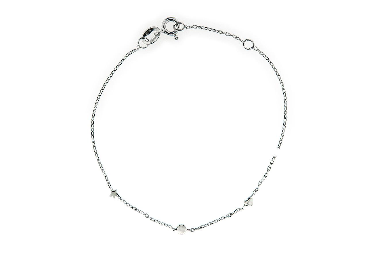 19-17cm Armband in Silber 925 rhodiniert mit Stern und Herz