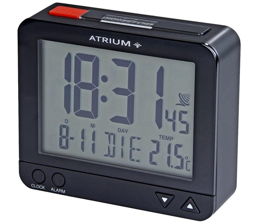 Schwarzer Funkwecker Atrium A760-7 Autolicht mit Lichtsensor, Weckwiederholung, Temperaturanzeige, T
