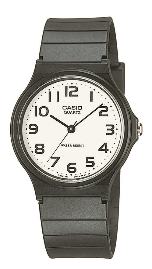 Armbanduhr Casio MQ-24-7B2LEG mit Analoganzeige, weißem Zifferblatt und schwarzem Kunststoffarmbandb