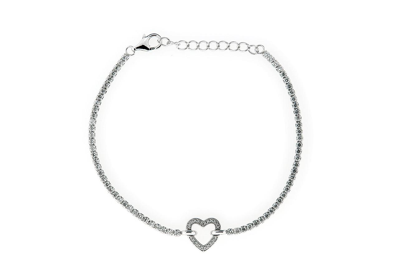 19-16cm Armband in Silber 925 rhodiniert mit Verlängerungskette und Zirkonia Herz