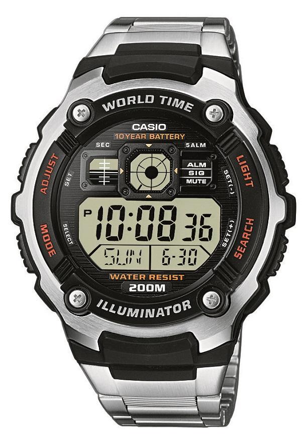 Digitaluhr Casio mit Edelstahl Applikation AE-2000WD-1AVEF mit Edelstahlarmband und Edelstahlboden
