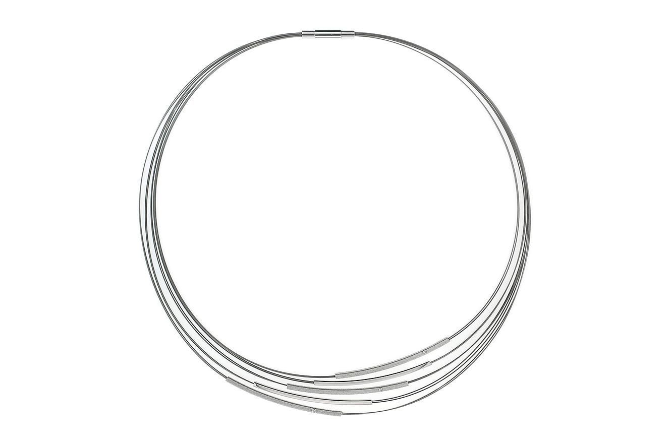 44cm Collier Pret von Yo Design mit kantigen Röhren in Silber 925 und Edelstahl