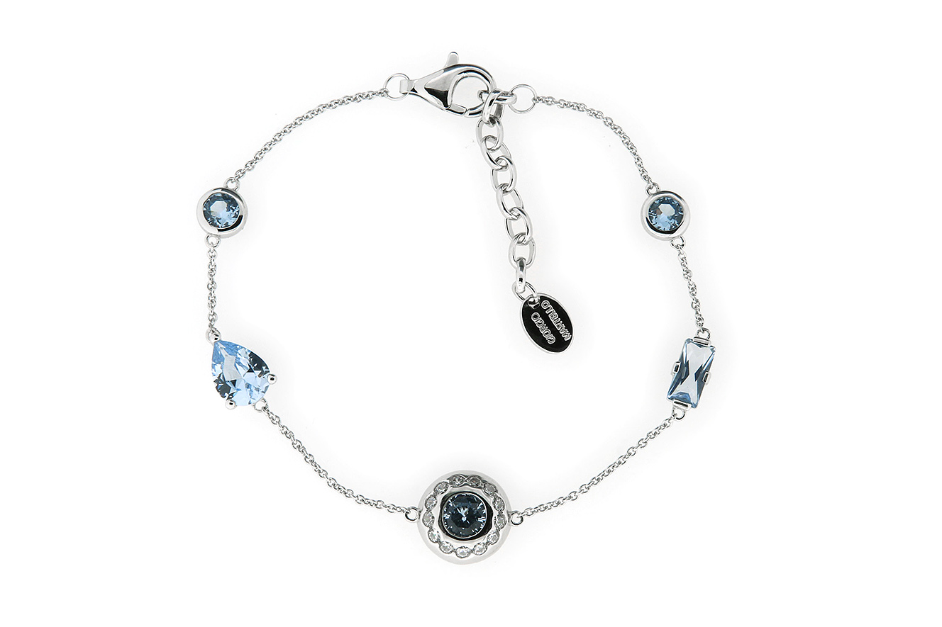 19-16cm Armband in Silber 925 rhodiniert mit Zirkonia und synthetischen Spinell
