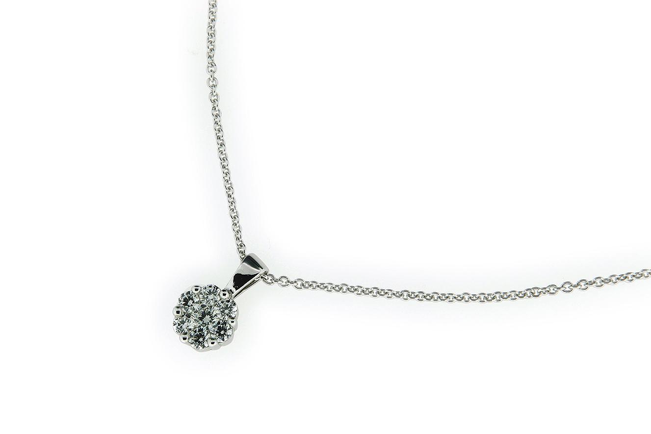 45-40cm Kette in Silber 925 rhodiniert mit Zirkonia als Blüte gestaltet