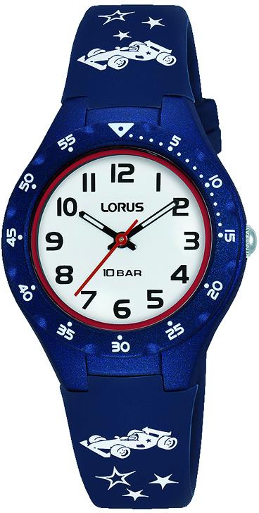 Kinderuhr mit Auto und blauen Silikonarmband von Lorus RRX63GX9