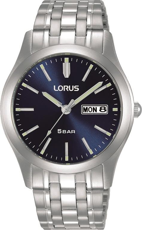 Armbanduhr von Lorus RXN69DX9 mit  Datum und Tagesanzeige in Edelstahl sowie Tages und Datumsanzeige