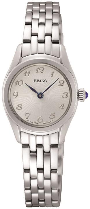 Damenarmbanduhr Seiko SWR057P1 Edelstahlgehäuse mit dunkelblauer Steinkrone