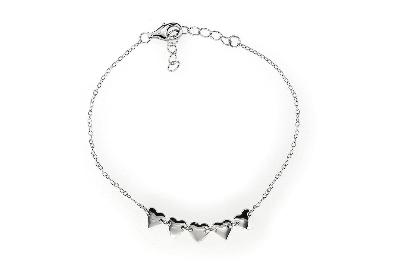 19-16cm Armband in Silber 925 rhodiniert mit Herz