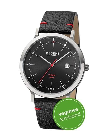Armbanduhr aus Titan Regent BA-703 mit schwarzen Zifferblatt und veganen Armband in schwarz mit rote