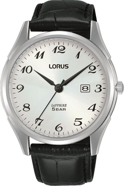 Herrenarmbanduhr von Lorus RH949NX9 mit Saphirglas, Datum und Lederarmband