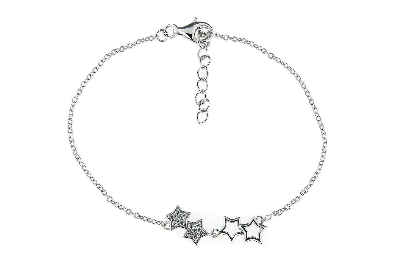 19cm Armband mit Sternen in Silber 925 rhodiniert und Verlängerungskettchen 3cm