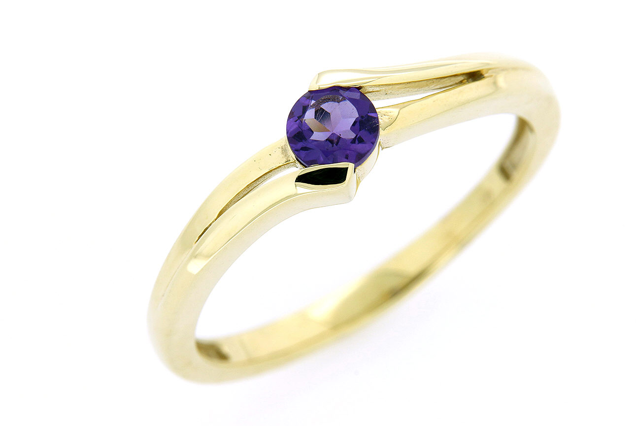 Gr.60 Damenring in Gold 333 mit violetten Amethyst