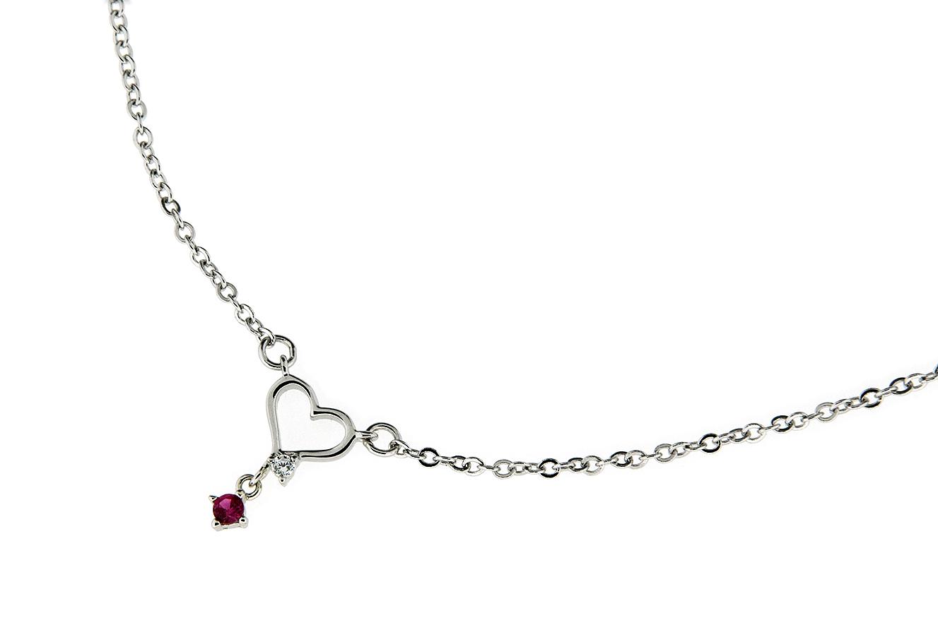 45-40cm Collier mit Herz und Zirkonia in Silber 925 rhodiniert mit Verlängerungskettchen 5cm