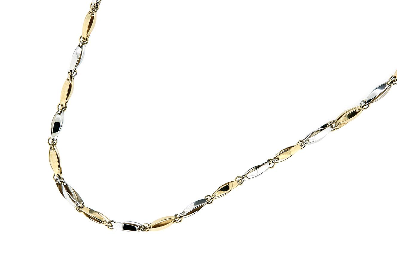 45cm Kette in Weißgold und Gelbgold 585 mit polierten Stäbchen-Zapfen