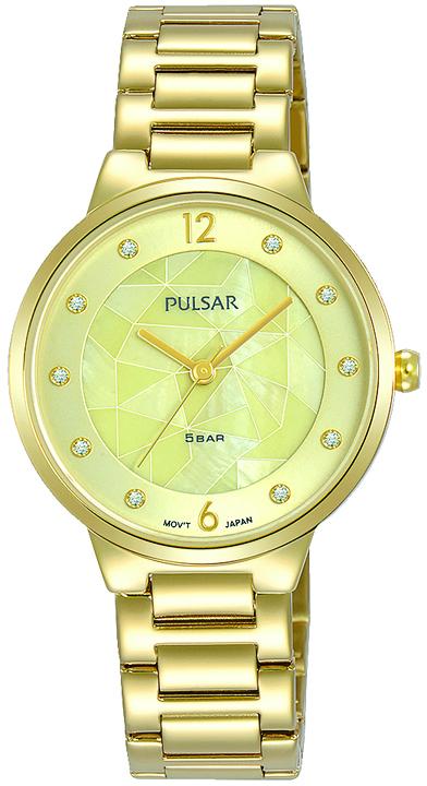 Armbanduhr von Pulsar PH8514X1 mit Edelstahlgehäuse in Goldfarben, Faltschließe und Swarovski Crysta