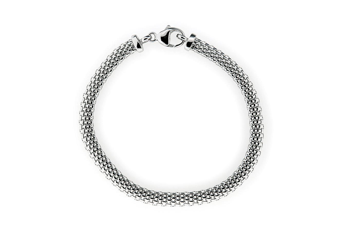 19cm Mesh-Armband in Silber 925 rhodiniert mit Karabiner