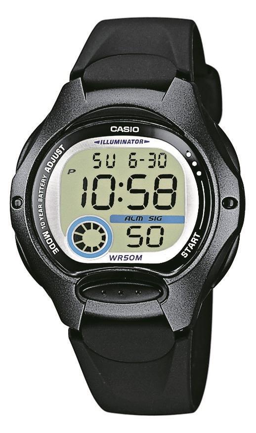 Digitaluhr von Casio LW-200-1BVEG mit schwarzem Kunststoffarmband und Edelstahlboden