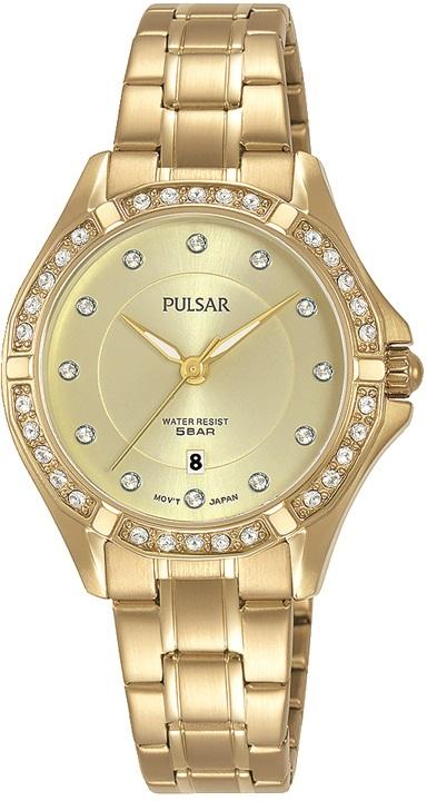 Damenarmbanduhr von Pulsar PH75332X1 mit Edelstahlgehäuse, Faltschließe und Swarovski Steinen vergol