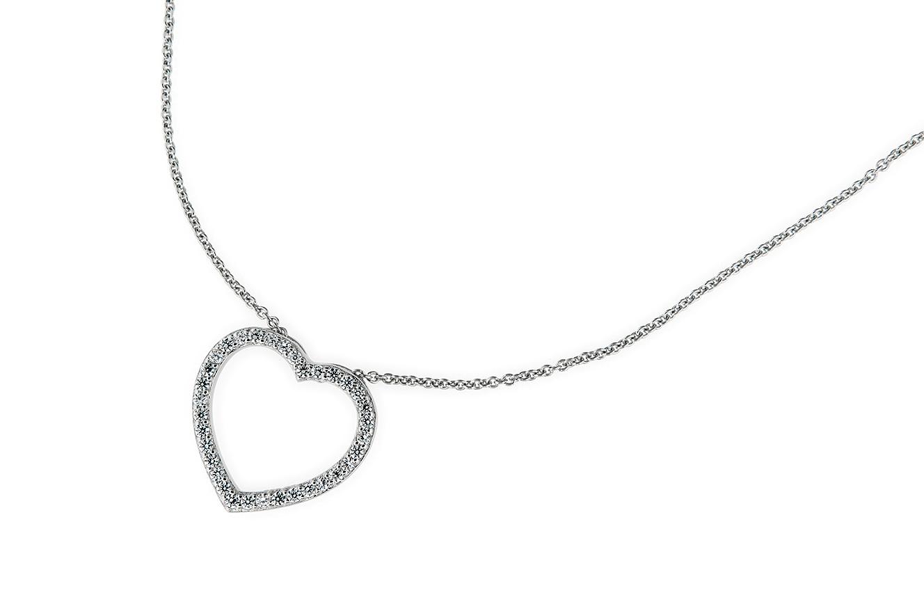 45-42cm Kette mit Anhänger Herz Silber 925 rhodiniert mit Zirkonia