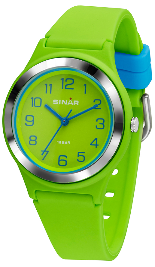 Fashion Armbanduhr XB-48-13 mit hellgrünen Silikonarmband aus dem Haus Sinar.