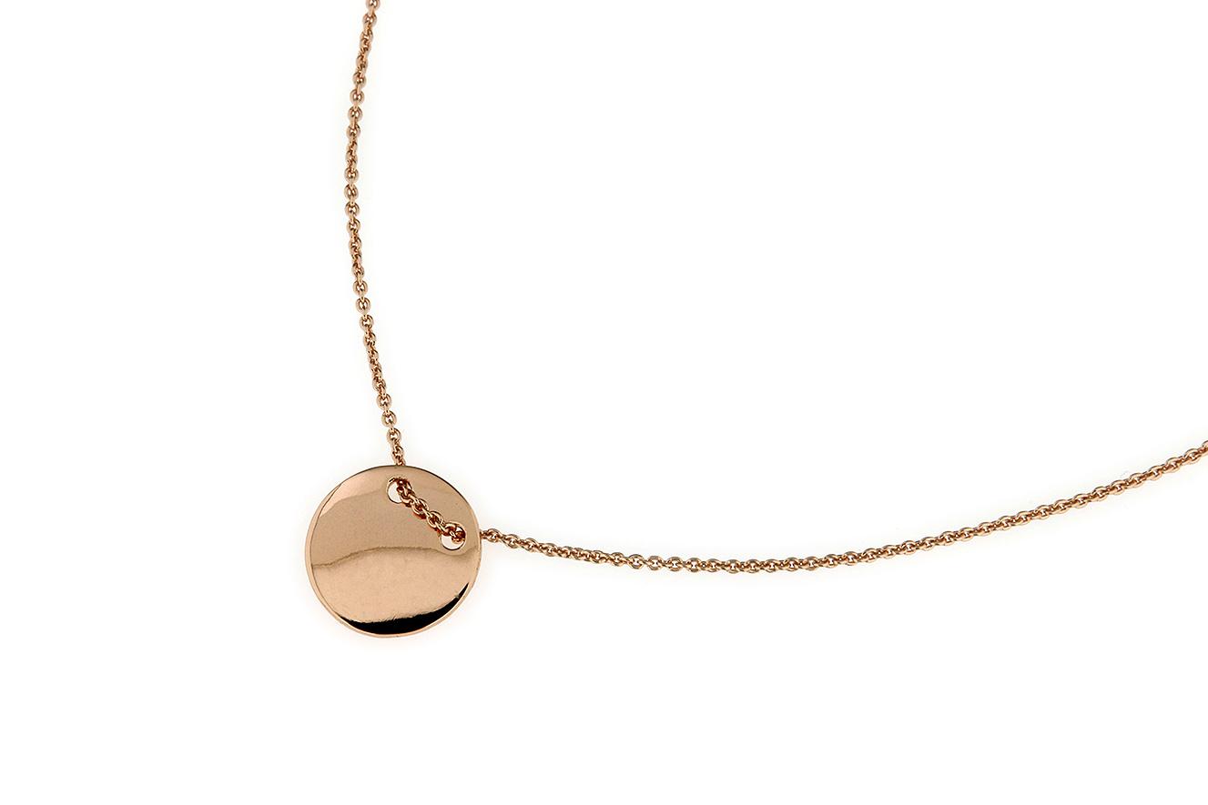 45-40cm Collier in Silber 925 mit einem Plättchen die Oberfläche ist rosé vergoldet