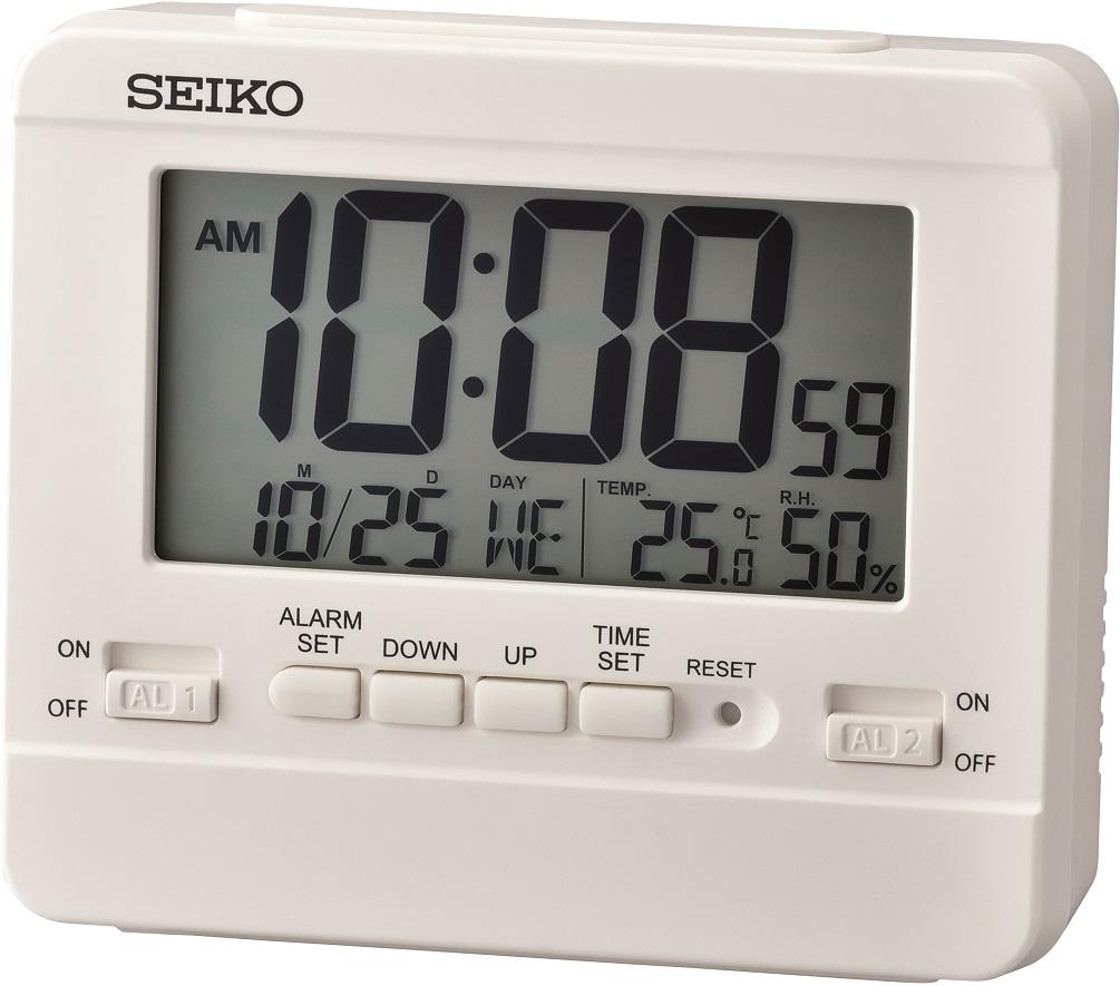 Seiko Wecker LCD QHL075K mit Kalender, Temperatur, Hygrometer und Weckwiederholung