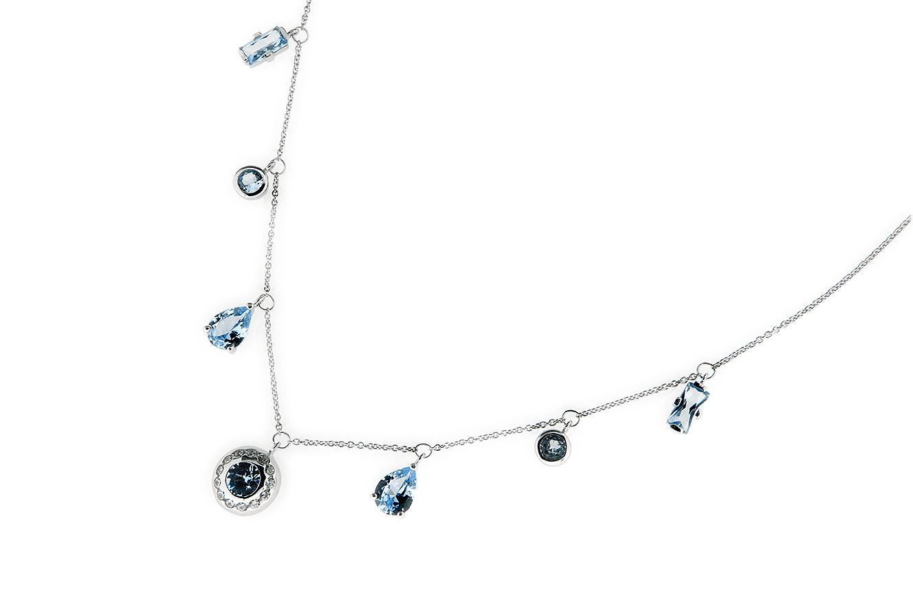 45-42cm Kette in Silber 925 rhodiniert mit hellblauen, synthetischen Spinell und Zirkonia