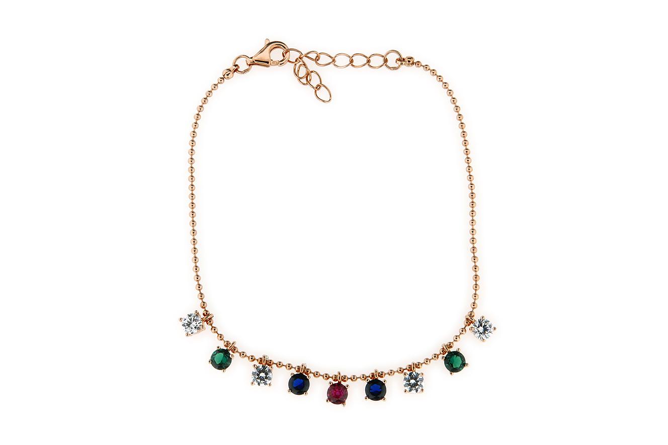 19-16cm Armband Silber 925 rose vergoldet mit farbigen Zirkonia