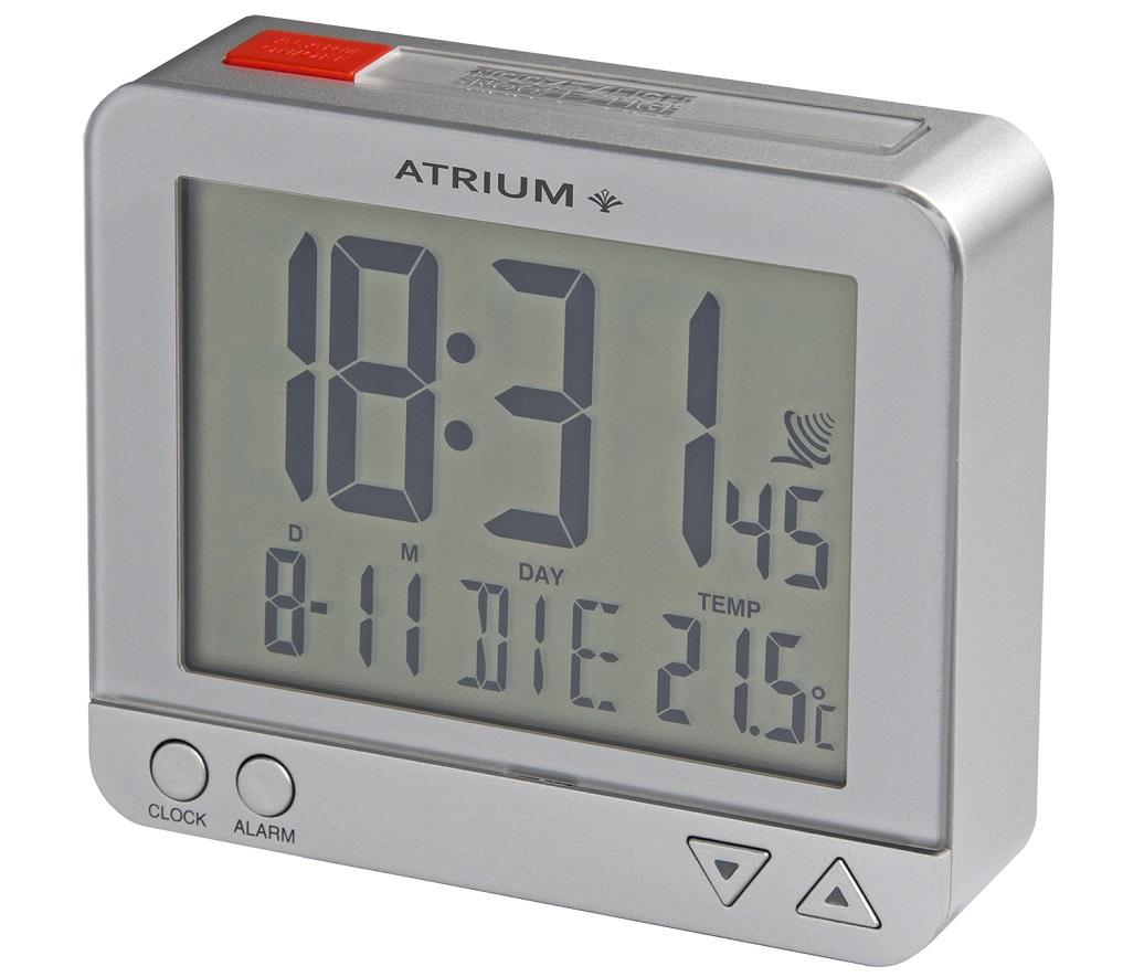 Silberner Funkwecker Atrium A760-19 Autolicht mit Lichtsensor, Weckwiederholung, Temperaturanzeige,