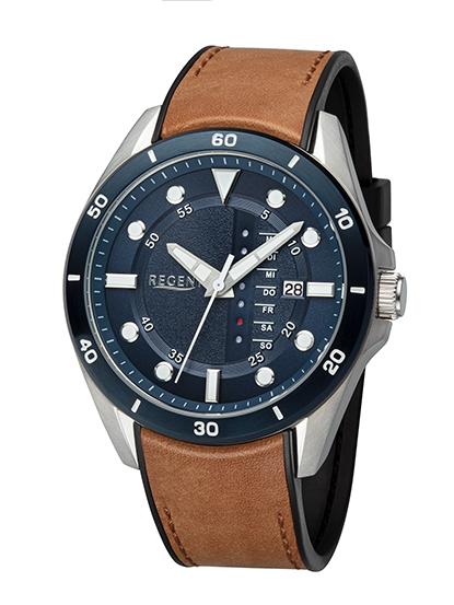 Armbanduhr Regent BA-706 mit dunkelblauen Zifferblatt und gebürsteten Edelstahl