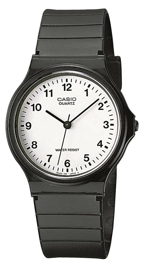 Armbanduhr Casio MQ-24-7BLLEG mit Analoganzeige, weißem Zifferblatt und schwarzem Kunststoffarmbandb