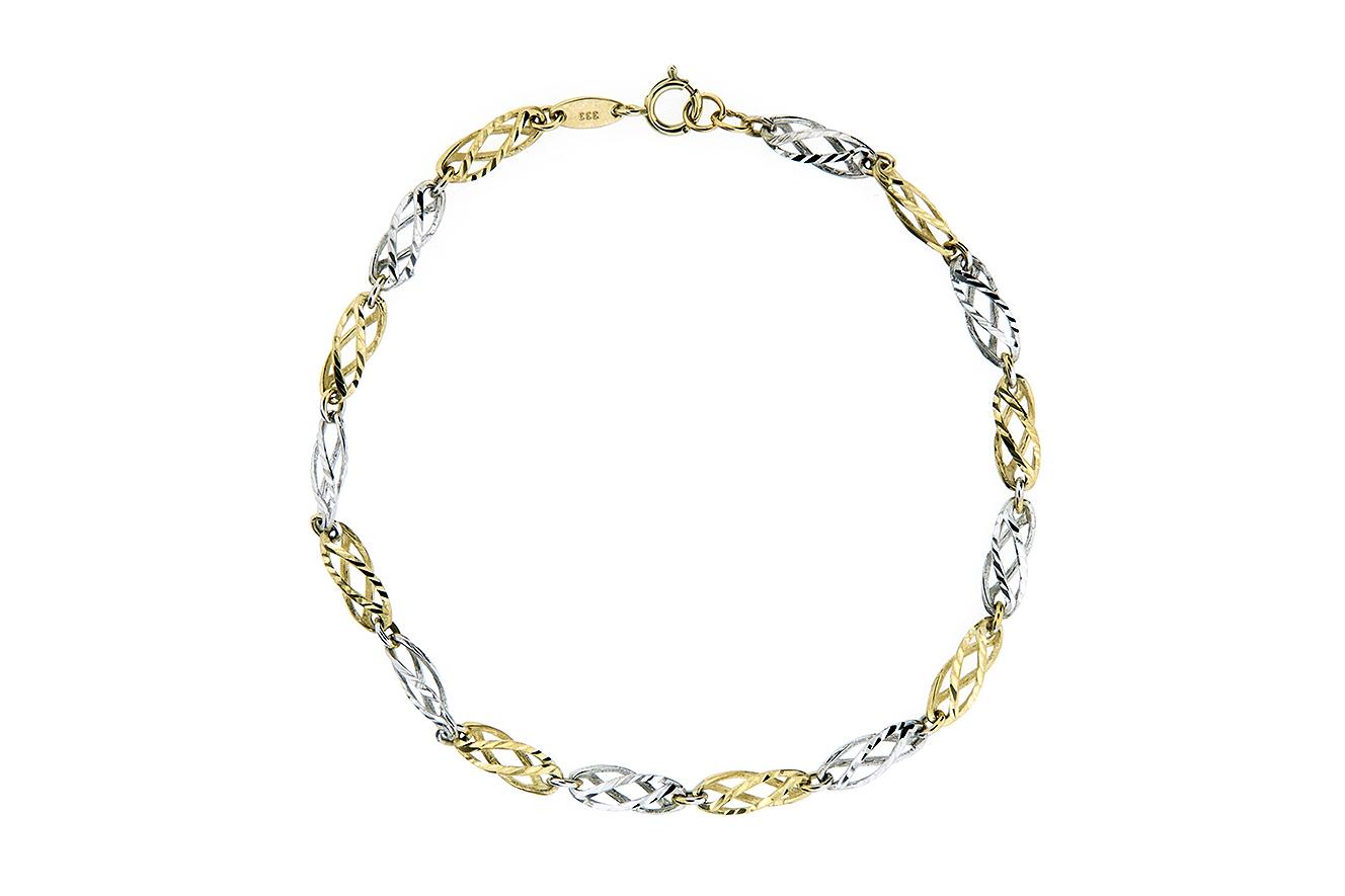19cm Armband in Weißgold und Gelbgold 333 mit gedrehten Gliedern