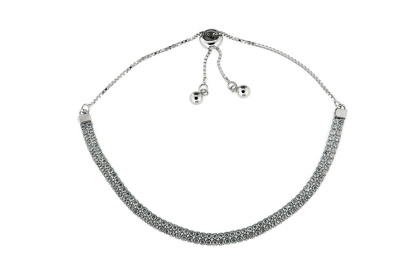 25-12cm doppelreihiges Tennisarmband Silber 925 rhodiniert mit Zirkonia