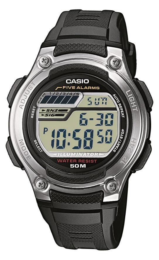 Digitaluhr Casio schwarz W-212H-1AVES Kunststoffarmband und Edelstahlboden