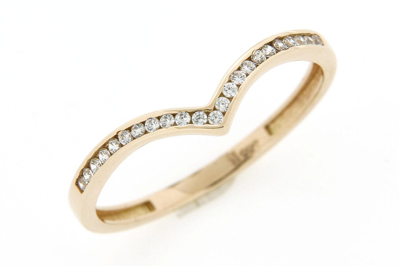 Gr.54 Ring gefertigt in Gold 585 Rotgold und weißen Zirkonia