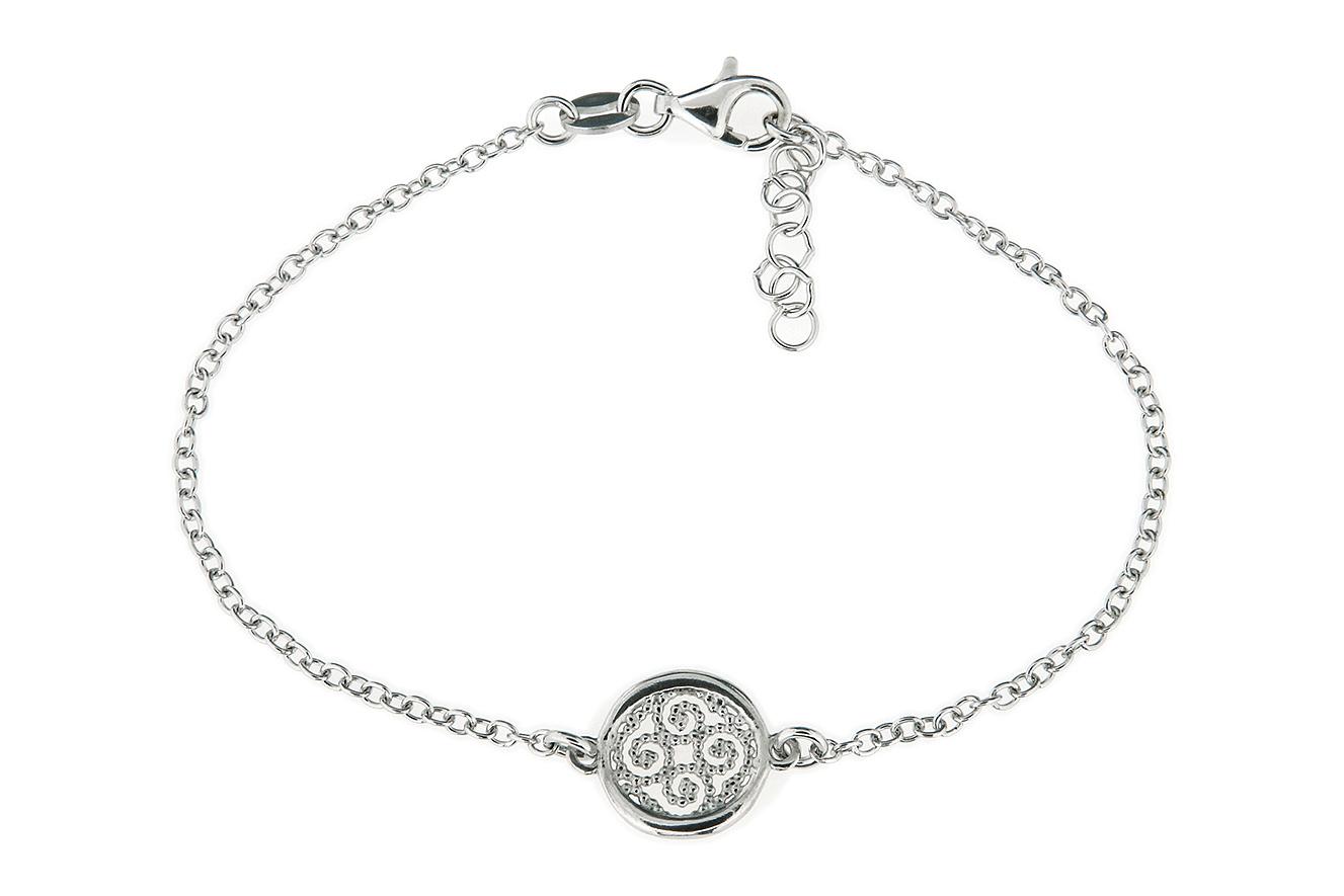 19-17cm Armband mit Ornament in Silber 925 rhodiniert mit Verlängerungskettchen 3cm