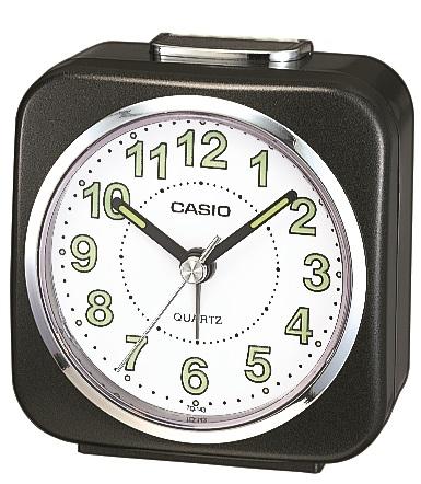 Quarzwecker Casio TQ-143S-1EF schwarz metallic mit Weckwiederholung und Licht.