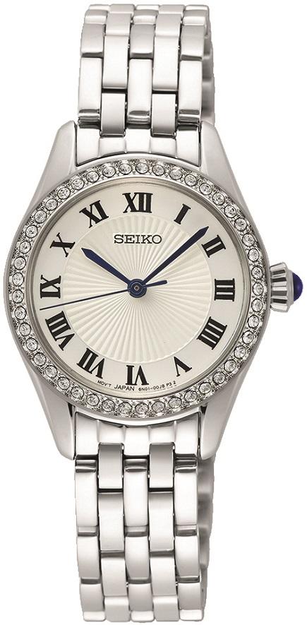 Damenarmbanduhr Seiko mit Swarovski Kristallen und dunkelblauer Steinkrone SUR333P1