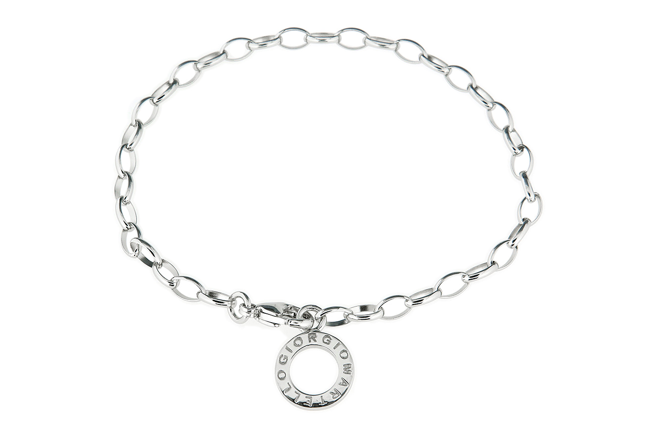 19cm Armband für Charms und Einhänger in Silber 925 mit rhodinierter Oberfläche