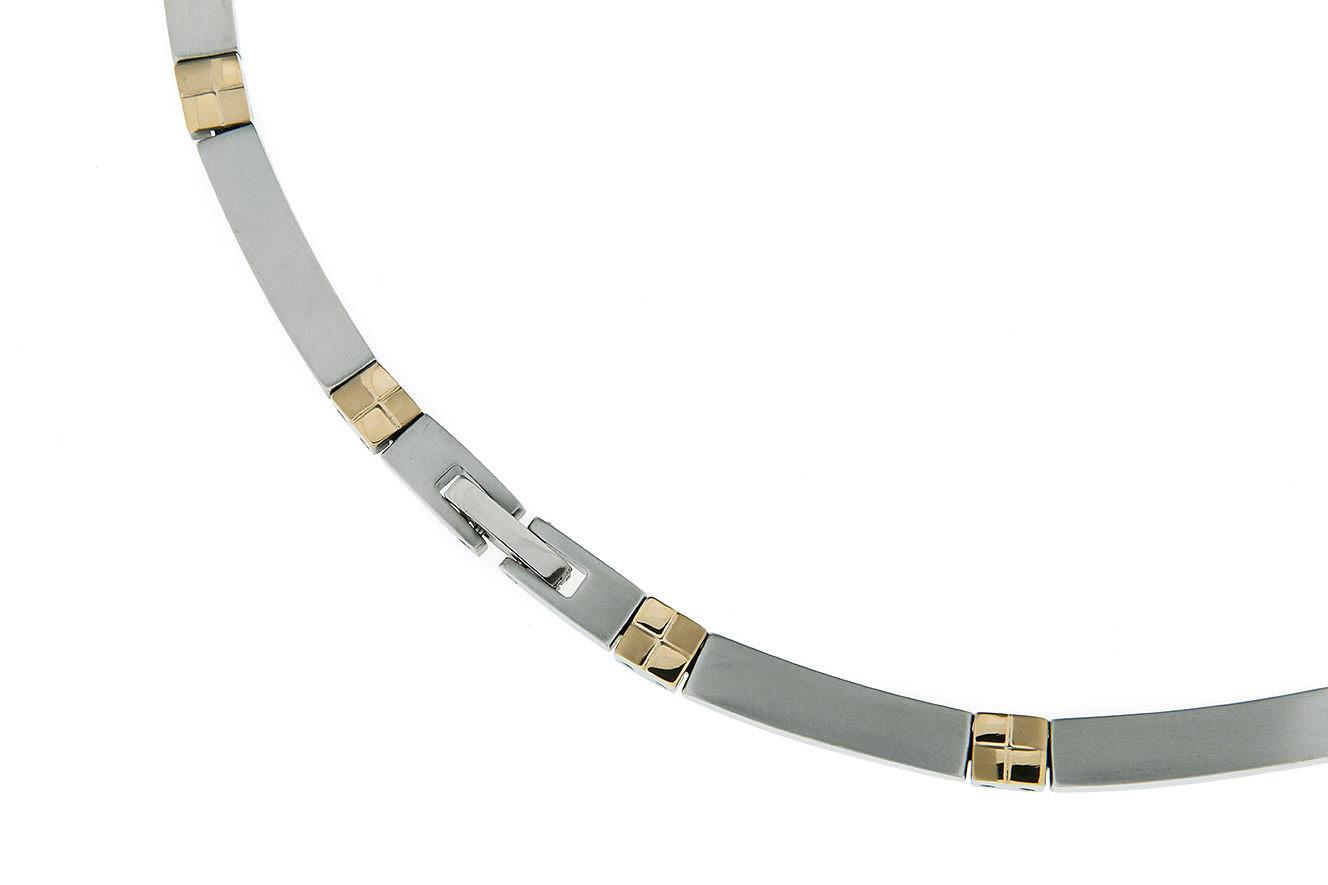 19cm Armband aus Titan mit gelb vergoldeten quadratischen Zwischengliedern und Clipverschluß